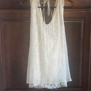 Ivory beaded lace top